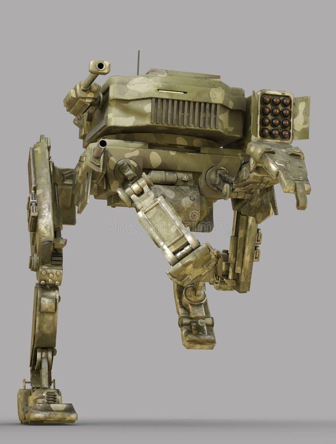 Robot militar ejemplo 3d aislado en fondo gris libre illustration