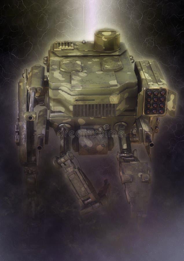 Robot militar ejemplo 3d en un fondo oscuro fantástico ilustración del vector
