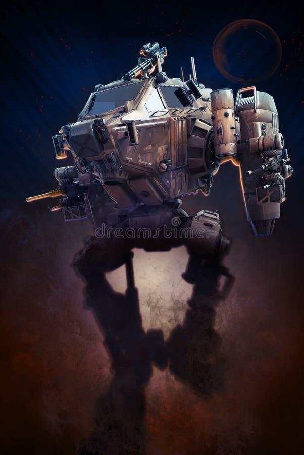 Robot militar ejemplo 3d en un fondo oscuro fantástico libre illustration