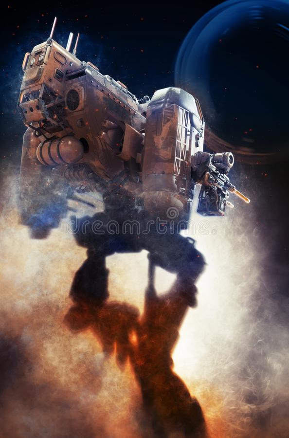 Robot militar ejemplo 3d en un fondo oscuro fantástico stock de ilustración