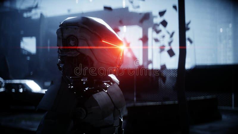 Robot militar en ciudad destruida Concepto futuro de la apocalipsis representación 3d ilustración del vector