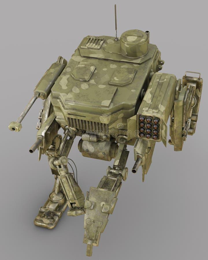 Robot militare illustrazione 3d isolata su fondo grigio illustrazione vettoriale