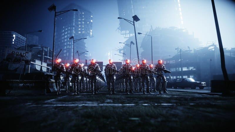 Robot militari di camminata Invasione dei robot militari Concetto realistico eccellente di apocalisse drammatico futuro rappresen illustrazione vettoriale