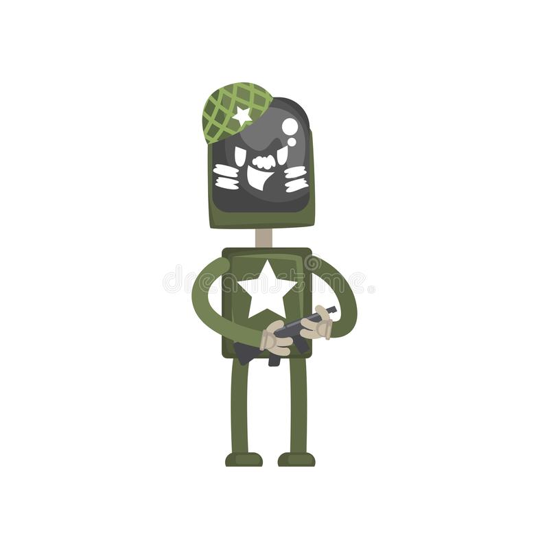 Robot military character, android in green uniform standing with automatic machine in its hands cartoon vector stock illustration