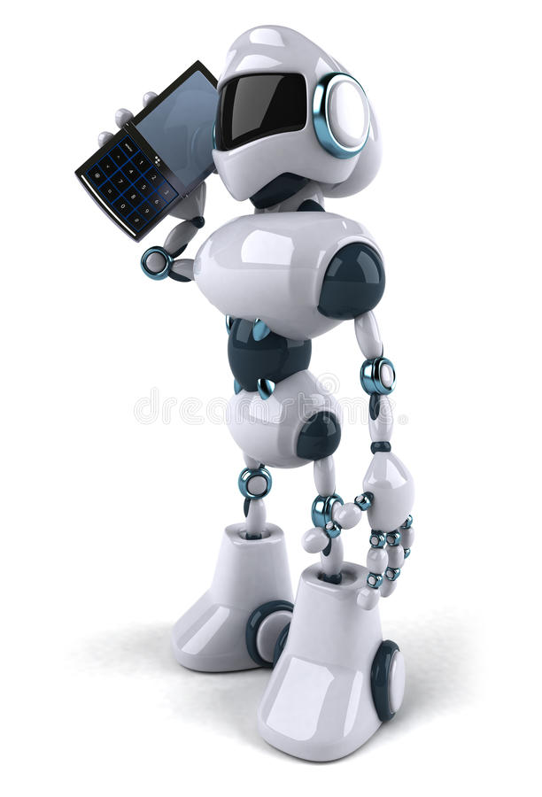 Robot with a mobile phone stock illustration