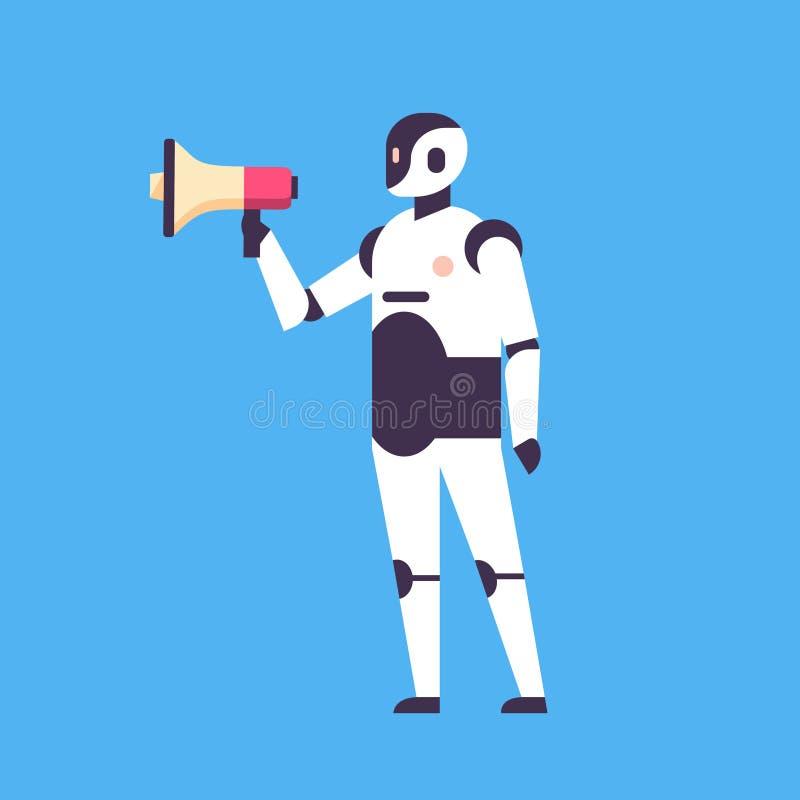 Robot moderne tenant intégral plat de fond bleu d'intelligence artificielle de concept d'annonceur de haut-parleur de mégaphone illustration stock
