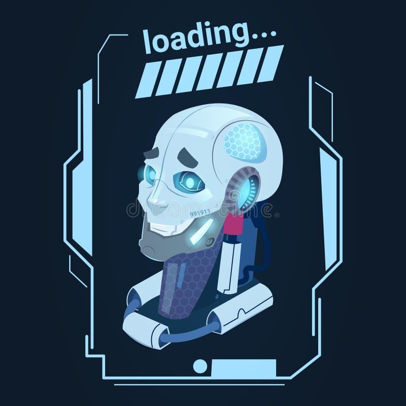 Robot moderno che carica tecnologia futuristica del meccanismo di intelligenza artificiale illustrazione vettoriale