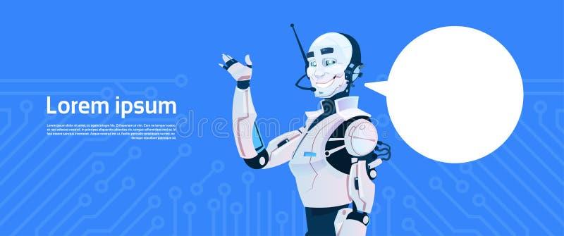 Robot moderno con la burbuja de la charla, tecnología futurista del mecanismo de la inteligencia artificial ilustración del vector