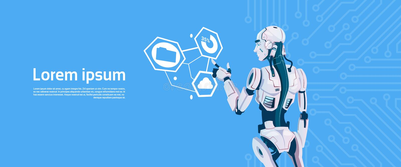 Robot moderno facendo uso del monitor dello schermo attivabile al tatto di Digital, tecnologia futuristica del meccanismo di inte illustrazione di stock