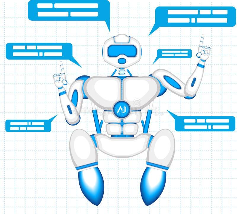 Robot moderno isolato su fondo blu royalty illustrazione gratis