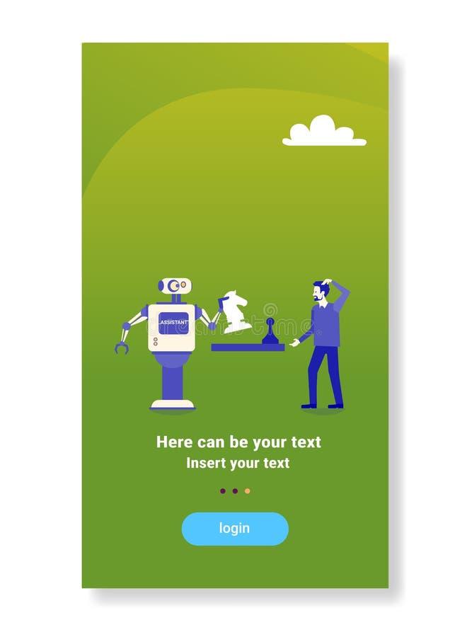 Robot moderno que juega a ajedrez con vertical plana de la inteligencia artificial del mecanismo de la tecnología del concepto hu stock de ilustración