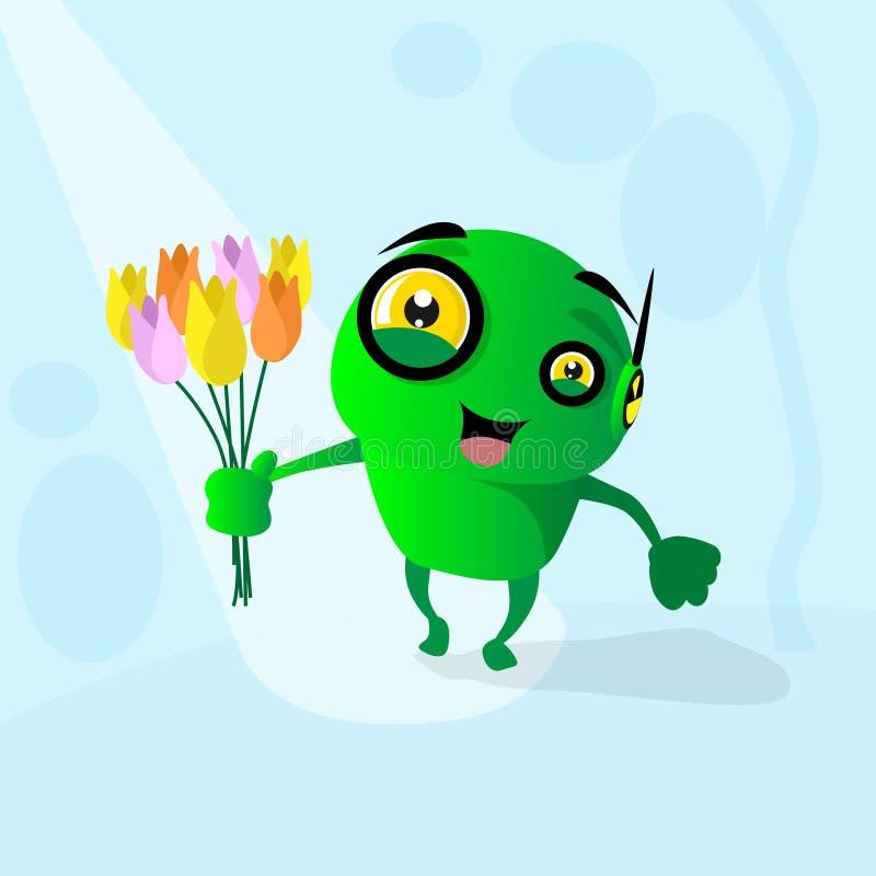 Robot moderno que sostiene la flor Tulip Bouquet ilustración del vector