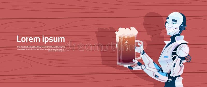 Robot moderno que sostiene la taza de cerveza, tecnología futurista del mecanismo de la inteligencia artificial ilustración del vector