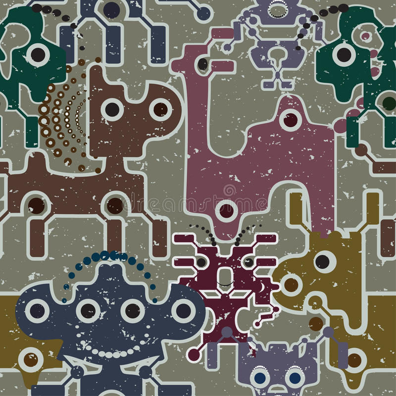 Download Robot And Monsters Cute Seamless Pattern. Stock Illustration - Image: 24323767