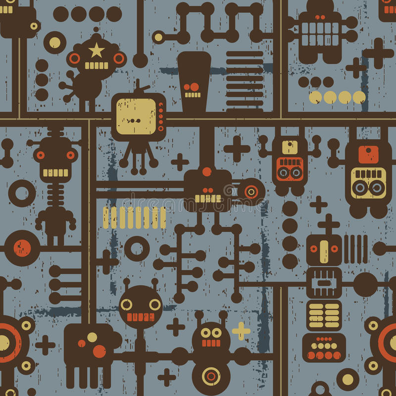 Robot and monsters seamless pattern on blue. stock illustration