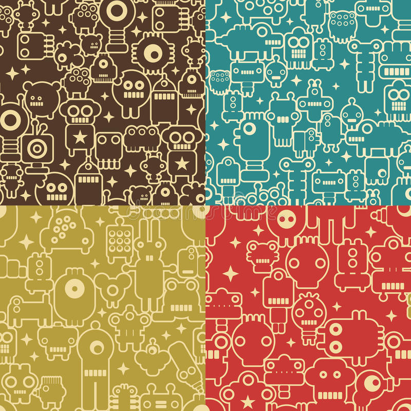 Robot and monsters seamless patterns. stock illustration