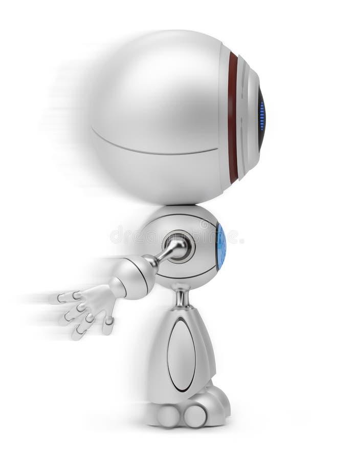 Robot in motie royalty-vrije illustratie