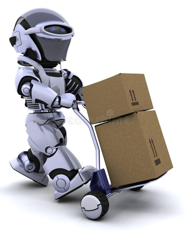 Robot moving shipping boxes vector illustration