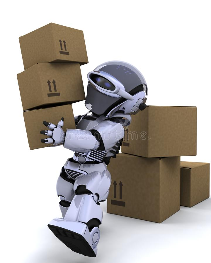 Robot moving shipping boxes stock illustration
