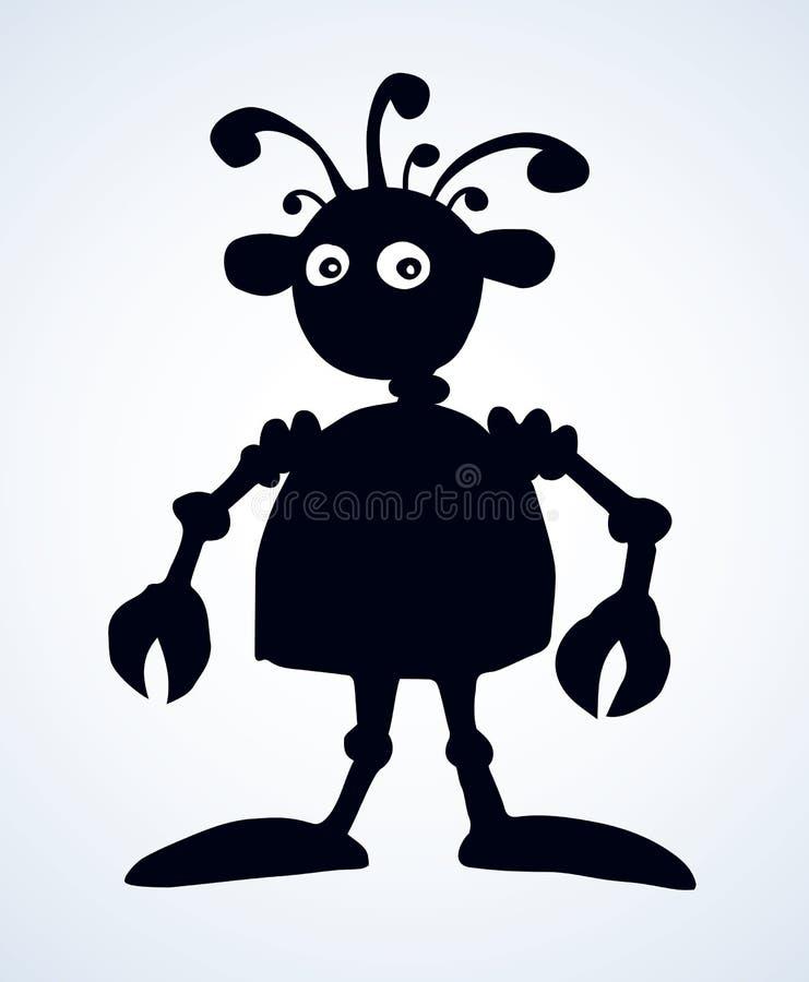 Robot Muestra del icono del dibujo del vector stock de ilustración
