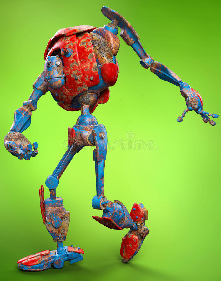 Robot muy viejo que funciona con el fondo verde libre illustration