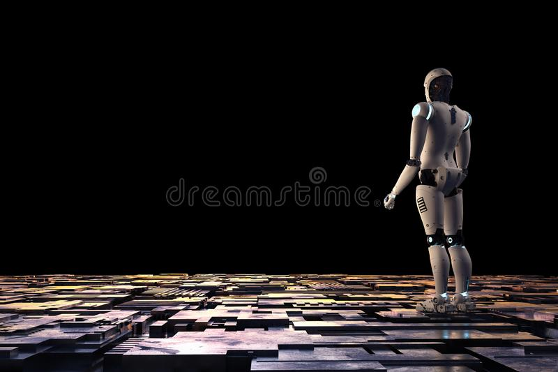 Robot na metal podłoga ilustracja wektor