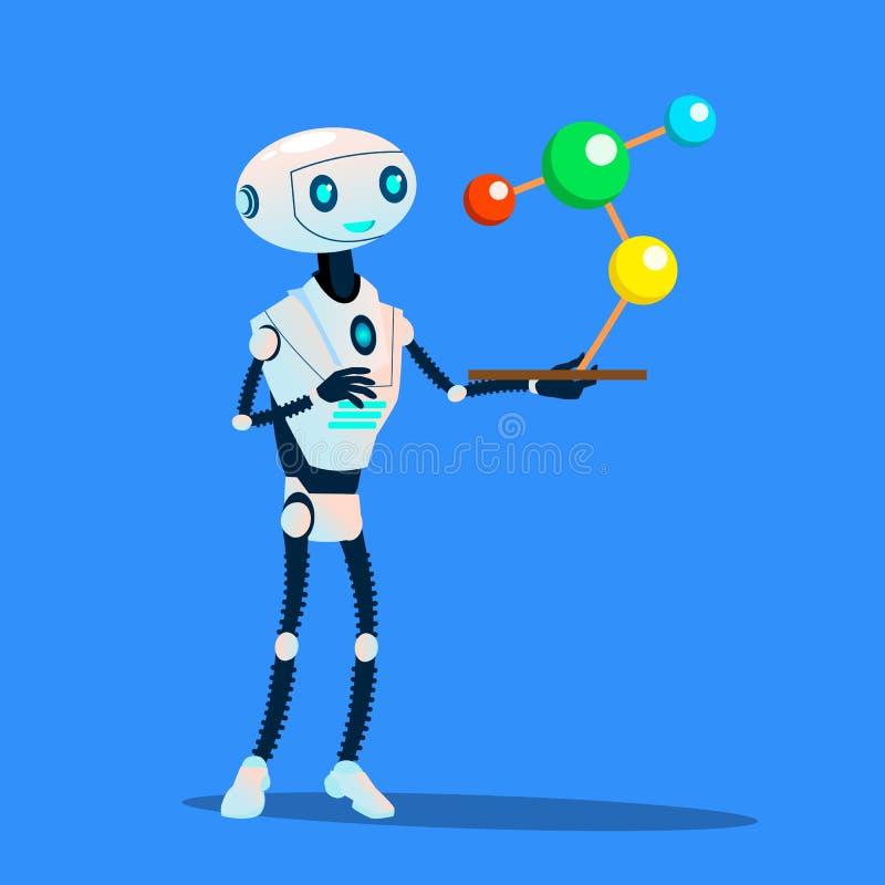 Robot nauki molekuły Wielki wektor button ręce s push odizolowana początku ilustracyjna kobieta royalty ilustracja