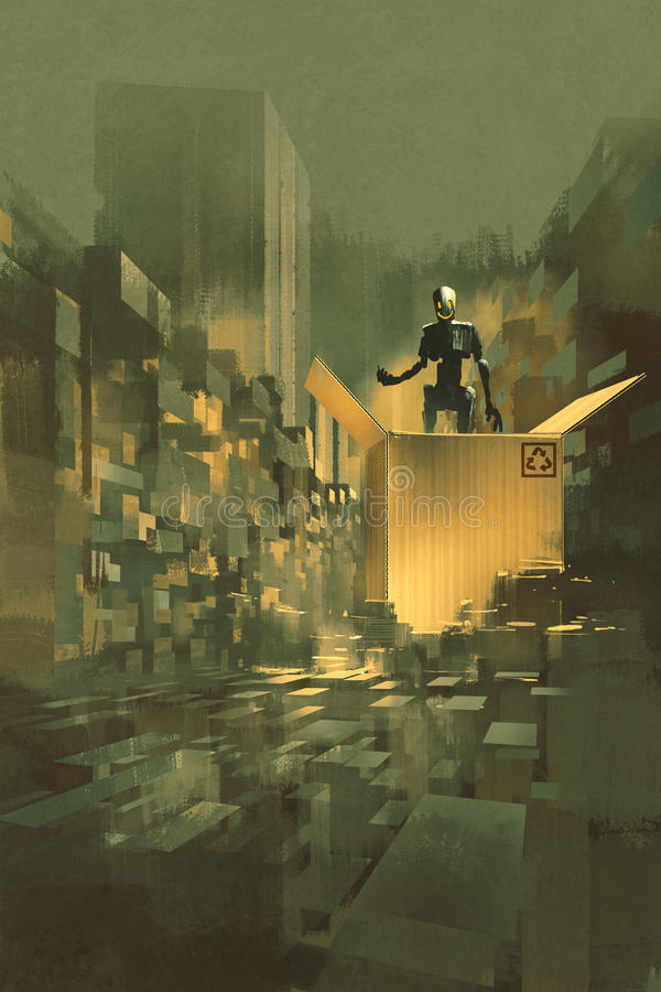 Robot nella grande scatola di cartone royalty illustrazione gratis