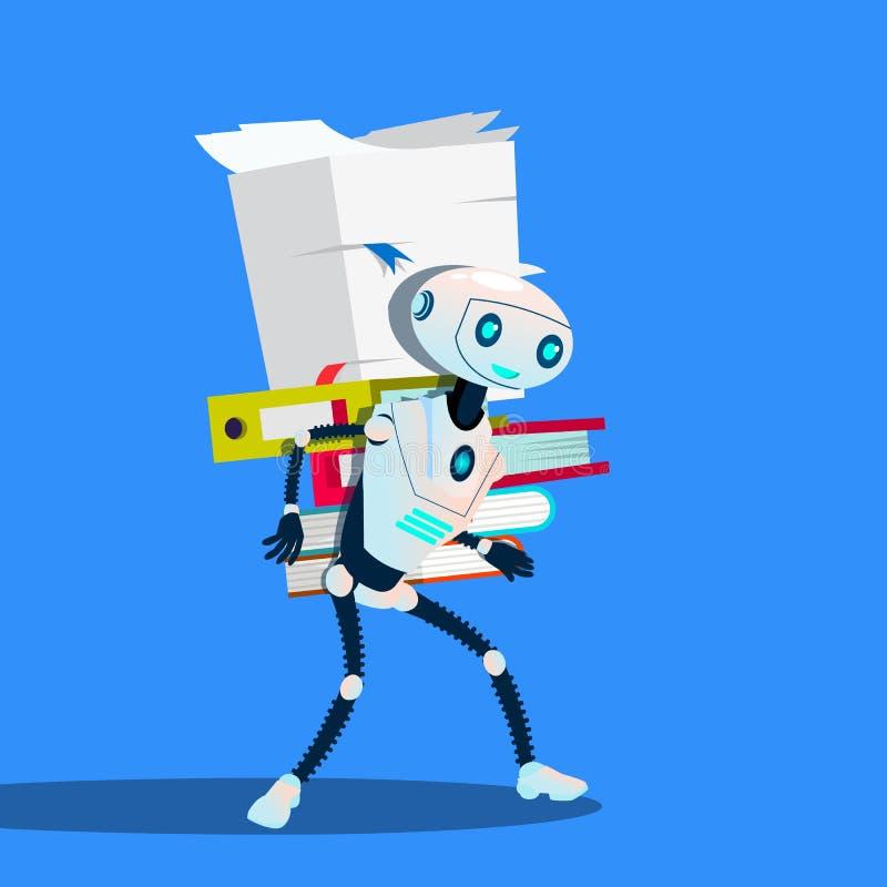 Robot Niesie stertę Biurowe falcówki Wektorowe button ręce s push odizolowana początku ilustracyjna kobieta royalty ilustracja