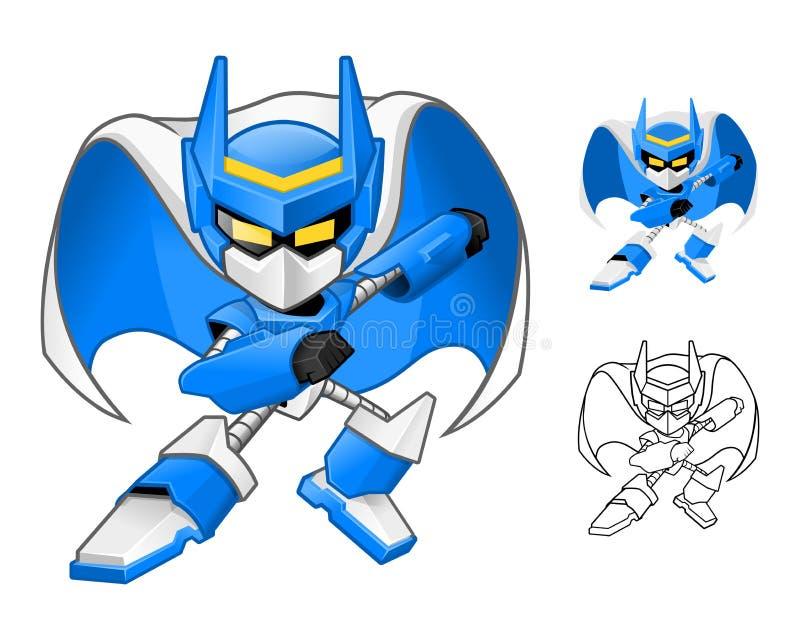Robot Ninja Cartoon Character stock de ilustración