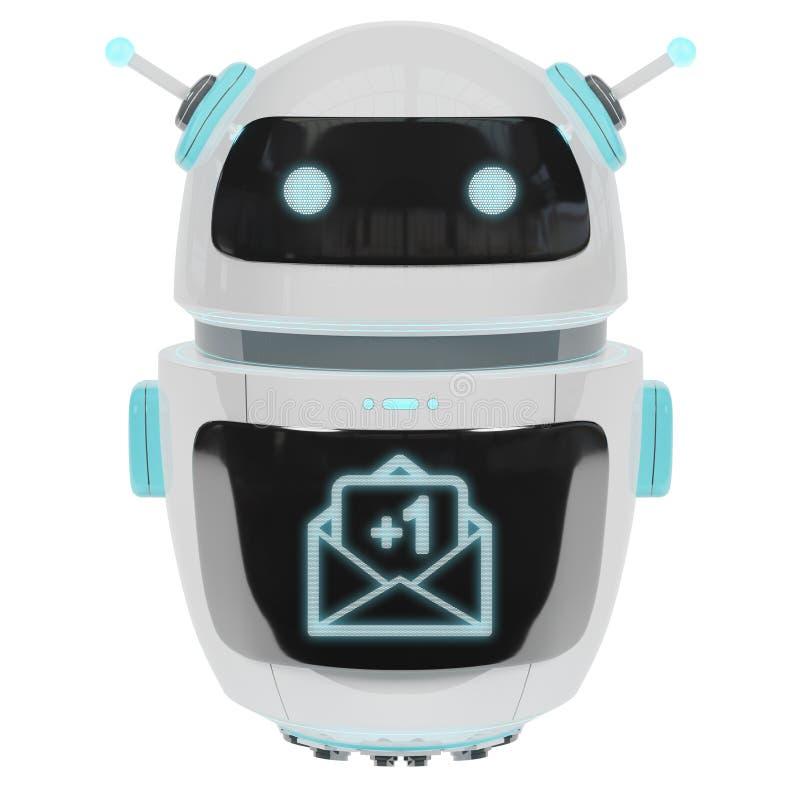 Robot numérique futuriste recevant le rendu des emails 3D illustration de vecteur