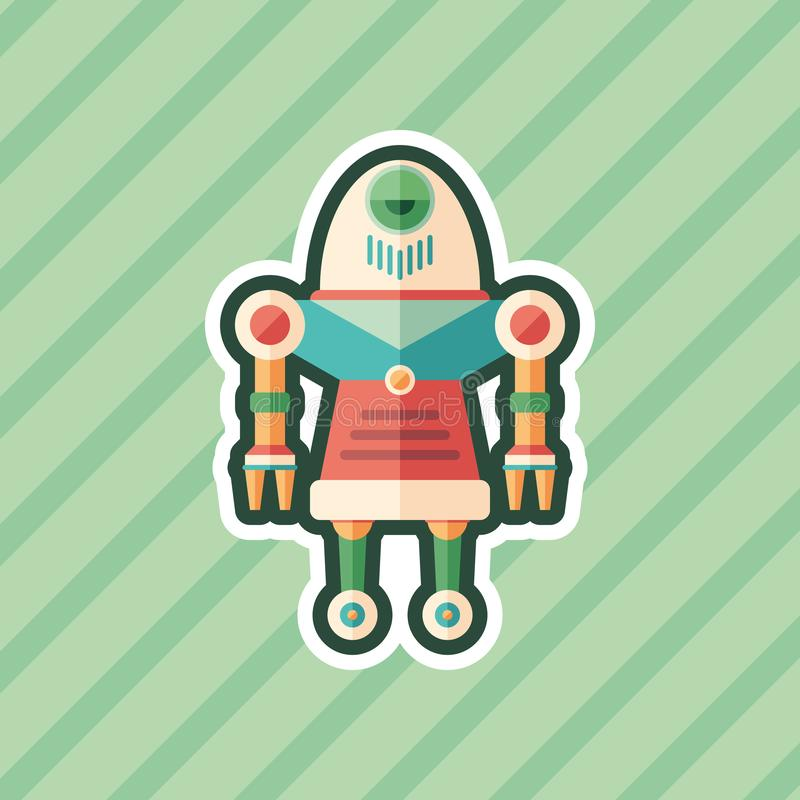 Robot nurse sticker flat icon with color background. royalty free illustration