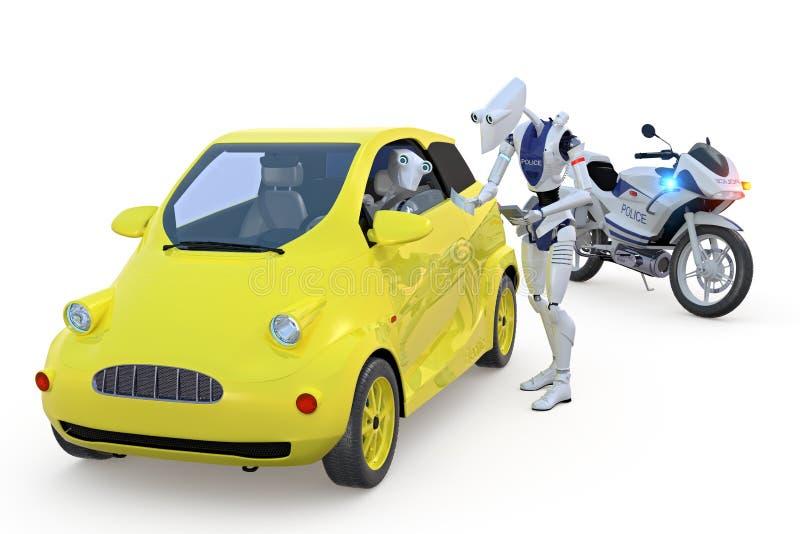 Robot obtenant une contravention pour excès de vitesse illustration de vecteur