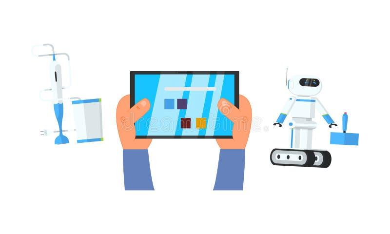 Robot och blandare som kontrolleras via minnestavlan med fjärrkontrollappen, vektorillustration stock illustrationer