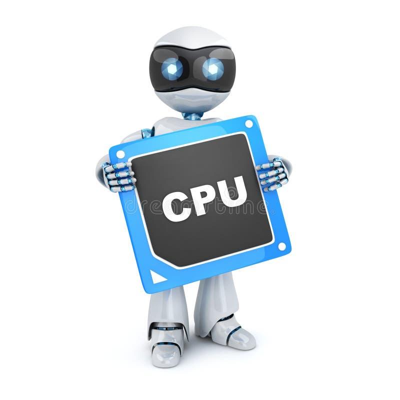 Robot och CPU stock illustrationer
