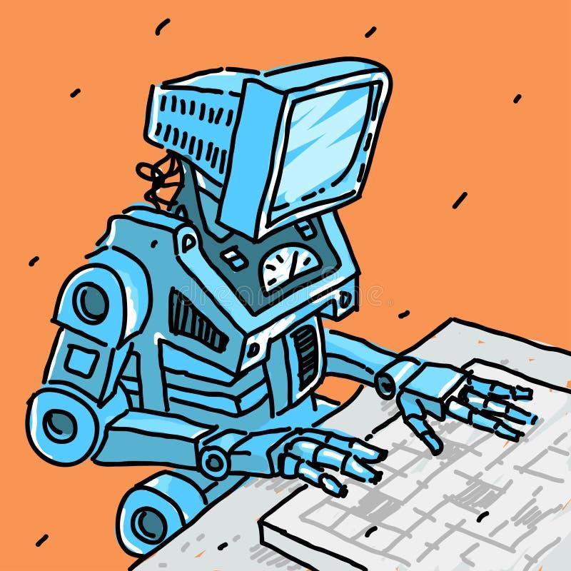 Robot och dator stock illustrationer