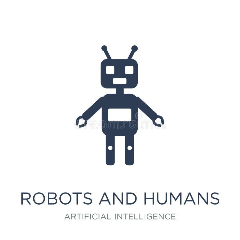 Robot- och människasymbol Moderiktig plan vektorrobot- och människaico royaltyfri illustrationer
