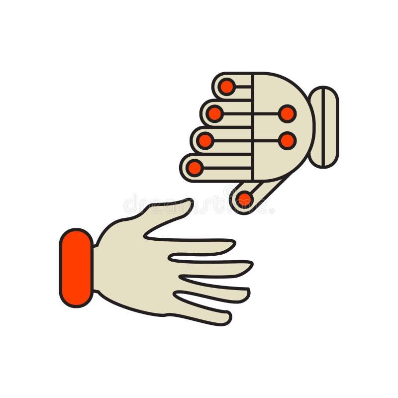 Robot- och människasymbolsvektorn som isoleras på vita bakgrund, robotar och människor, undertecknar, teknologisymboler stock illustrationer