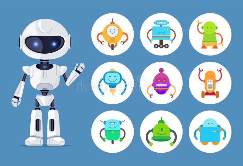 Robot och mekaniker Models för konstgjord intelligens stock illustrationer