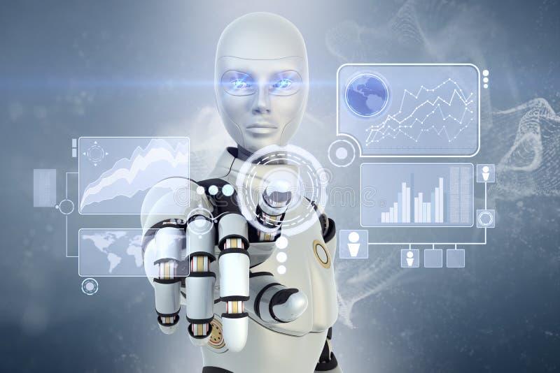 Robot och pekskärm stock illustrationer