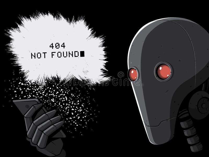 Robot och Smartphone sida för 404 fel vektor illustrationer