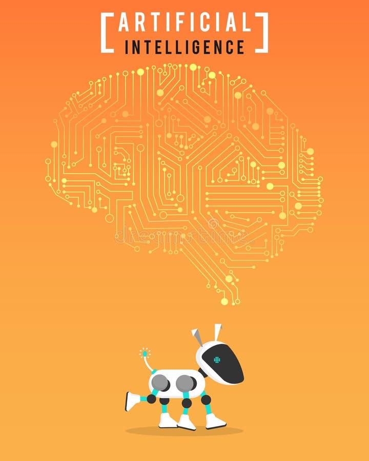 Robot och tekniskt avancerad konstgjord intelligens på orange bakgrund vektor illustrationer