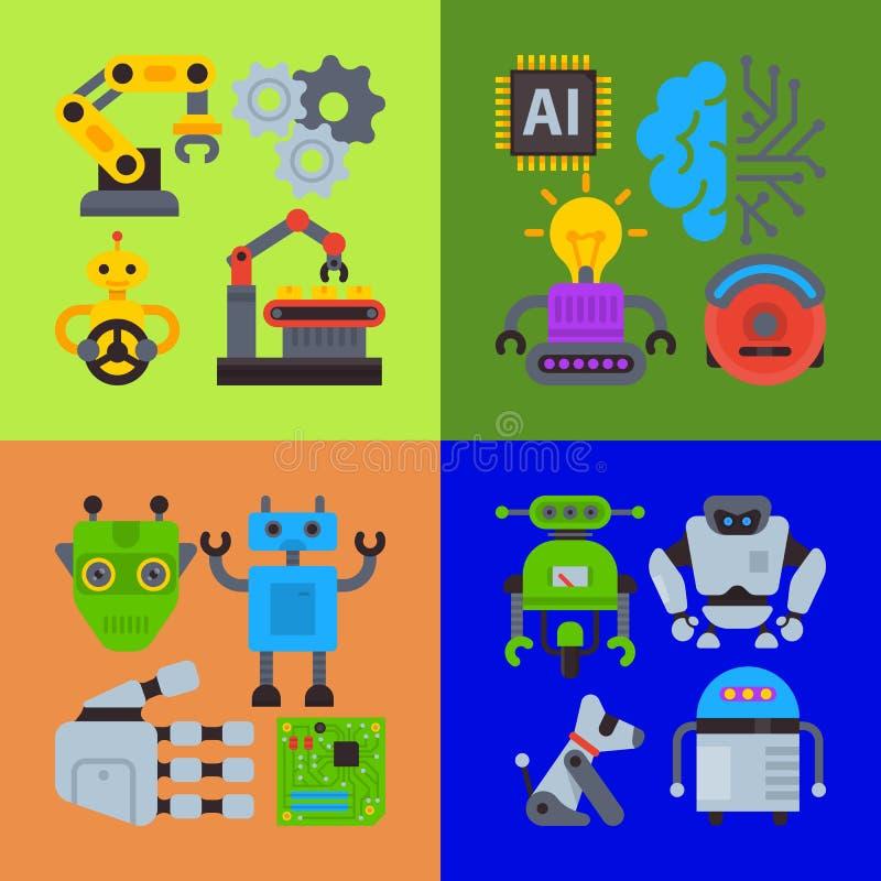 Robot ondulant, bannière robotique d'ami de chien, carte, illustration de vecteur d'affiche Technologie d'intelligence artificiel illustration stock