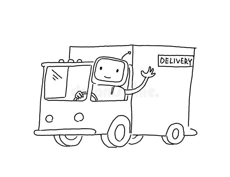 Robot op de vrachtwagen Goederenlevering Schets, die met de hand trekken Hand getrokken zwarte lijn vectorillustratie vector illustratie