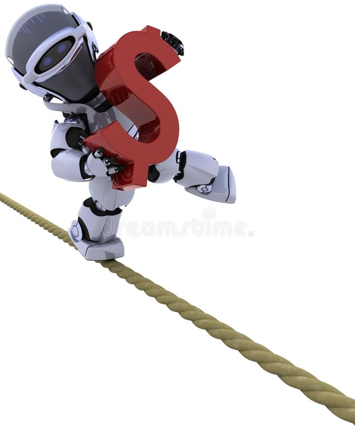 Robot op een strakke kabel royalty-vrije illustratie