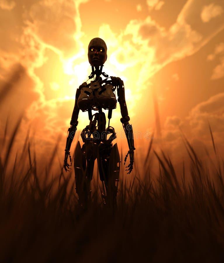 Robot op gebied met erachter zonlicht van royalty-vrije illustratie