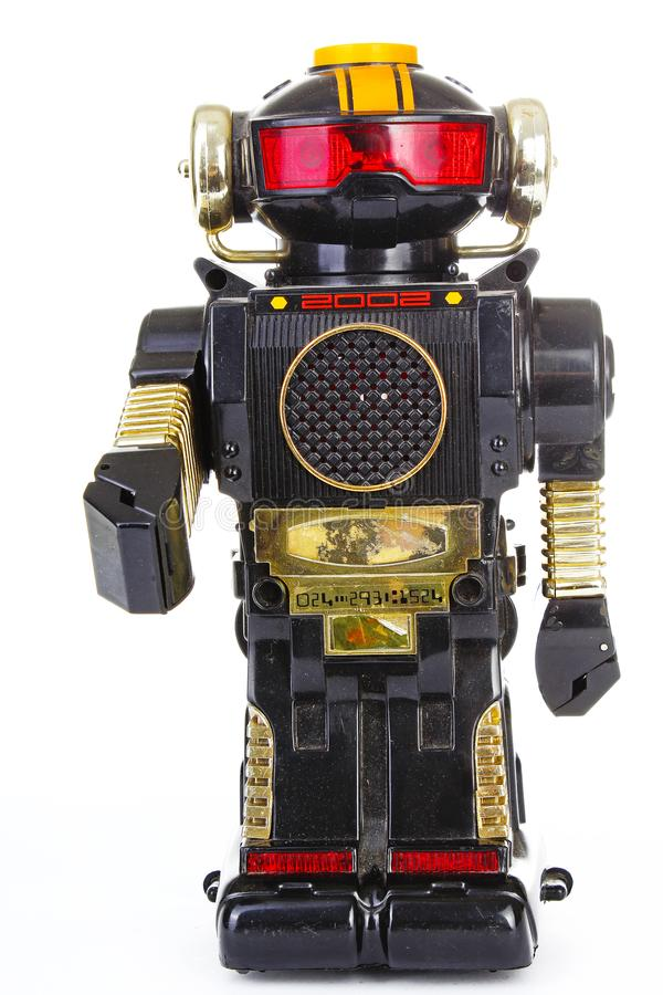 Robot op witte achtergrond Klassiek robot retro stuk speelgoed Leuke Robot stock afbeelding