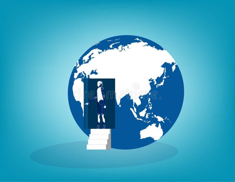 Robot open deur van de bol Concepten bedrijfs vectorillustratie vector illustratie