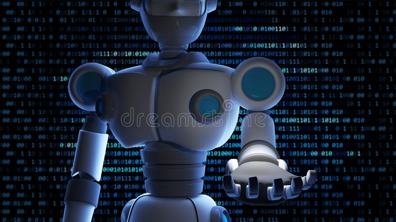 Robot open his hand with empty space and binary data number back royalty free illustration