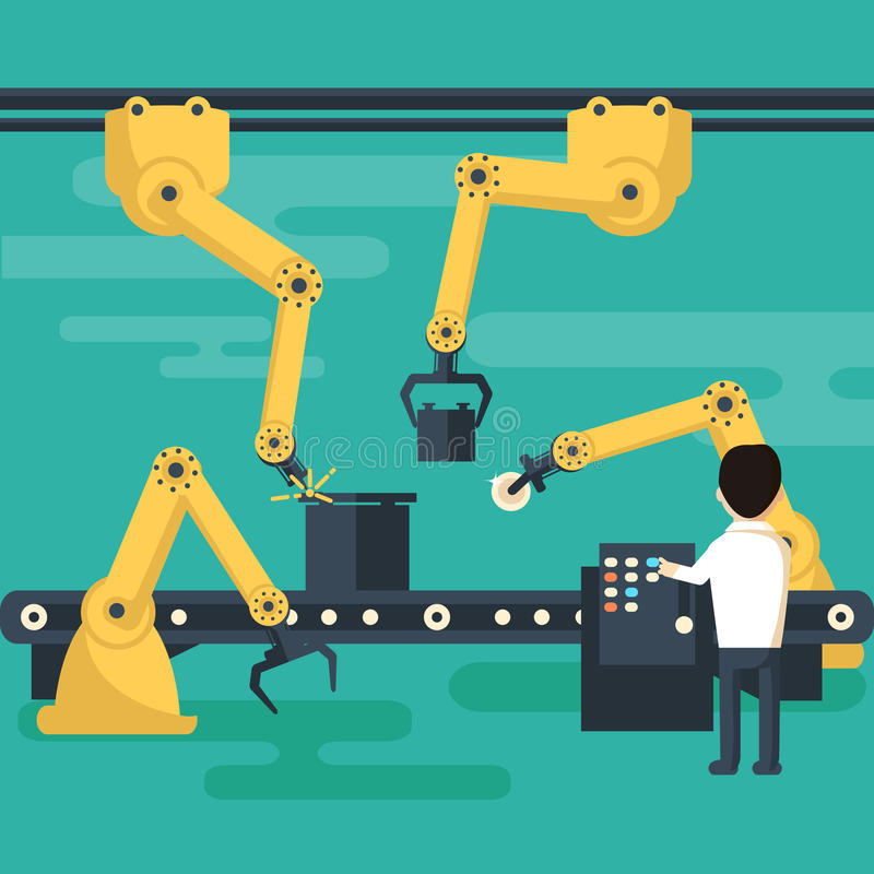 Robot operation of the conveyor royalty free illustration